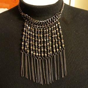 Statement Necklace Beaded Fringe Collar